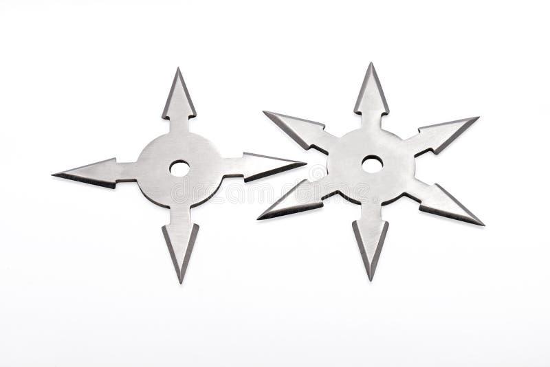 Ninja Star Shuriken op Witte Achtergrond stock foto's