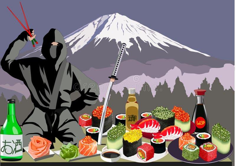 Ninja, sushi e Monte Fuji, ilustração do vetor ilustração royalty free