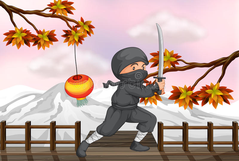 Download A ninja with a sword stock vector. Illustration of human - 33097958