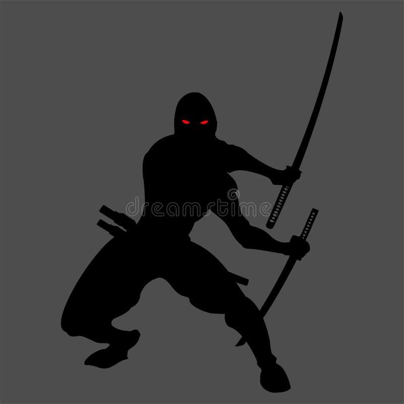 Ninja sylwetka royalty ilustracja