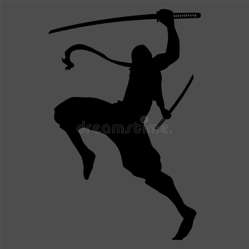 Ninja sylwetka ilustracja wektor