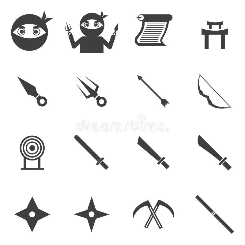 Ninja symbol, stil för design för vektorillustionlägenhet stock illustrationer