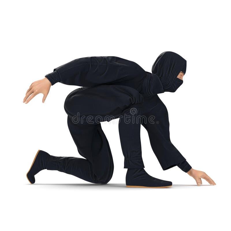 Ninja Taking Fighting Pose no fundo branco ilustração 3d, isolada ilustração royalty free