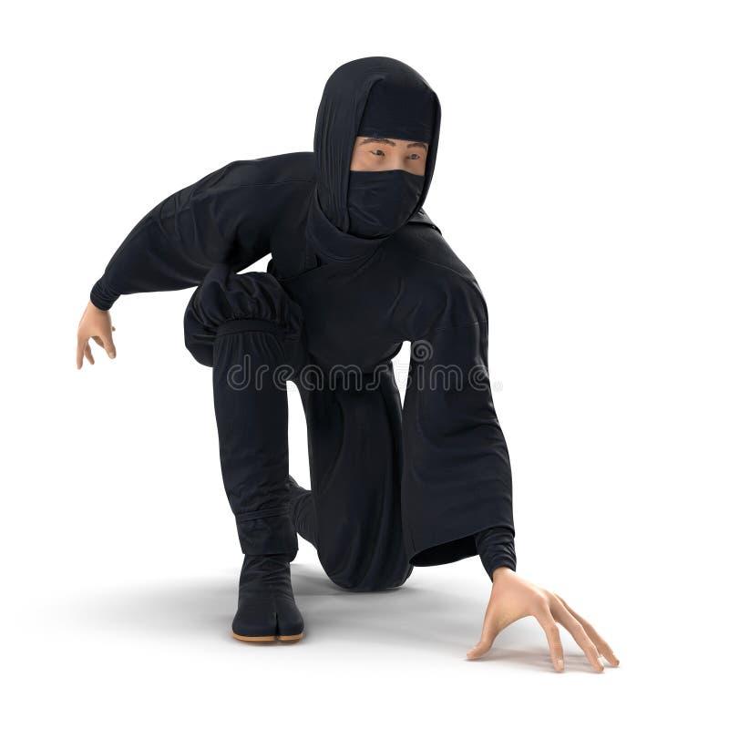 Ninja Taking Fighting Pose sur le fond blanc illustration 3d, d'isolement illustration stock