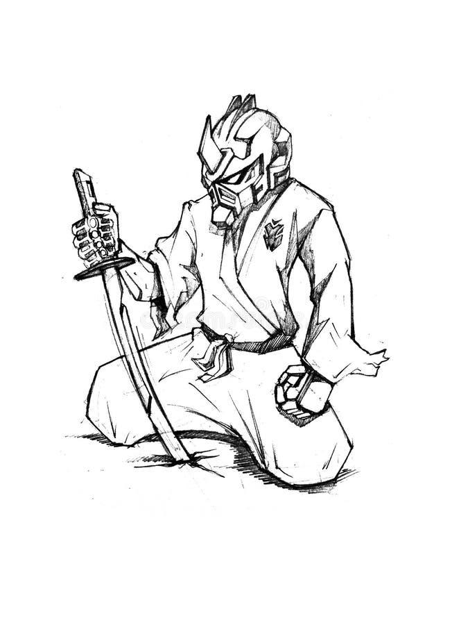 Ninja-techno Cyber-Robotersamurais stock abbildung