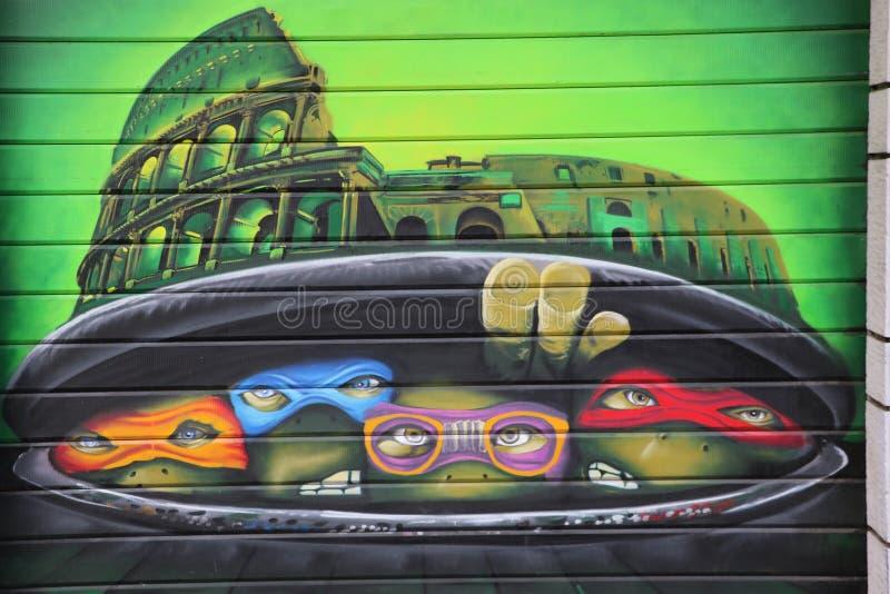 Ninja turtles graffiti stock photo