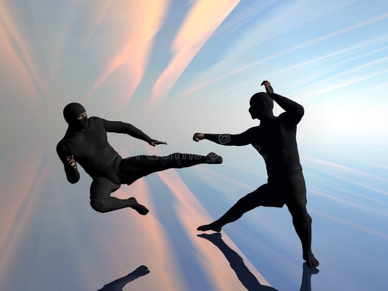 Ninja twee in strijd. vector illustratie