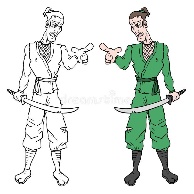 Ninja van het kleurenbeeldverhaal stock illustratie