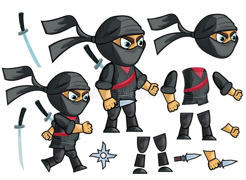 Ninja Vector. Animated Character Creation Set. royalty free illustration