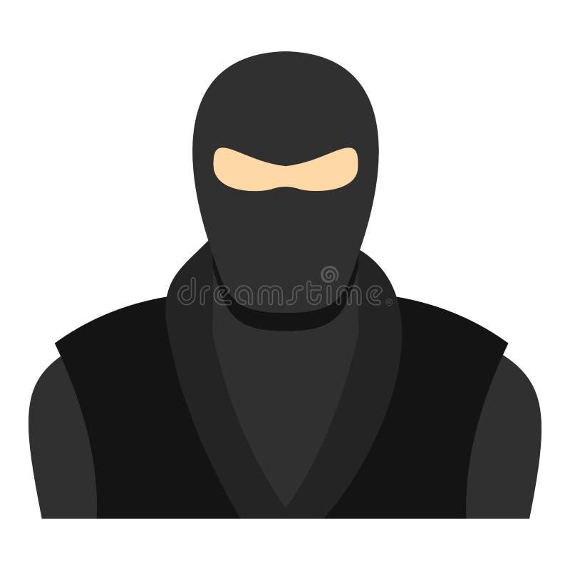 Ninja in vestiti neri e nell'icona della maschera isolata illustrazione vettoriale