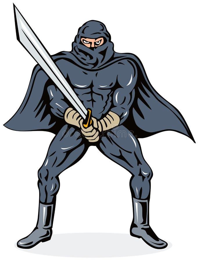 Ninja villain with sword vector illustration