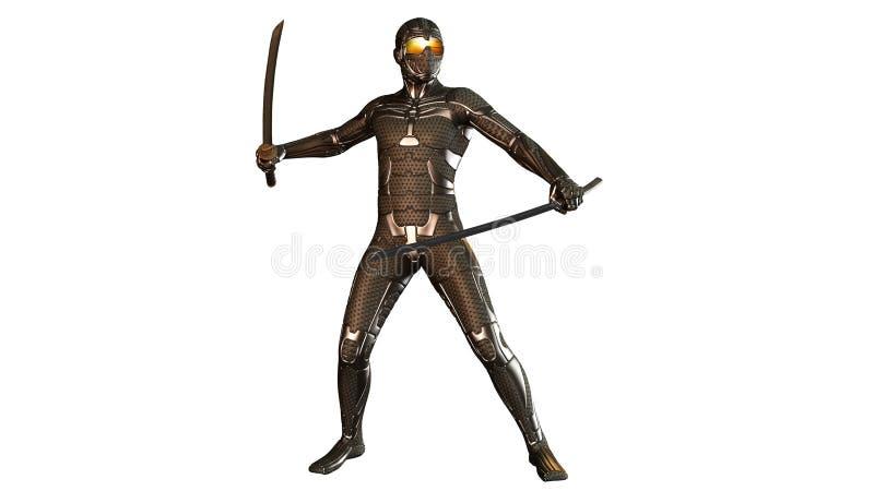 Ninja w kuloodpornym opancerzenie boju z dwa katana kordzikami, wojownik odizolowywający na bielu ilustracji