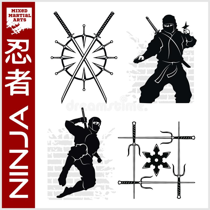 Ninja Warrior Fighter - art martial mélangé illustration de vecteur