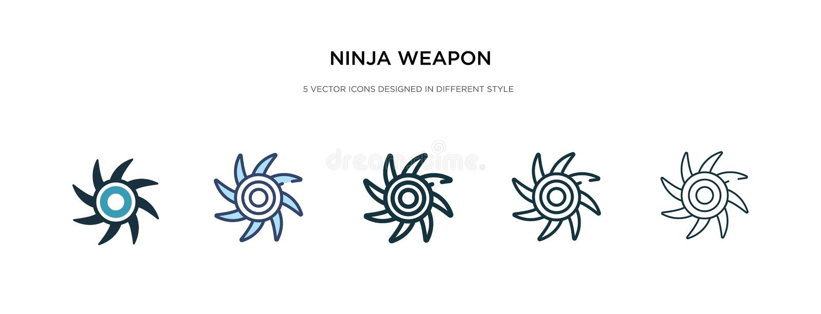 Ninja weapon icon in different style vector illustration. two colored and black ninja weapon vector icons designed in filled, stock illustration