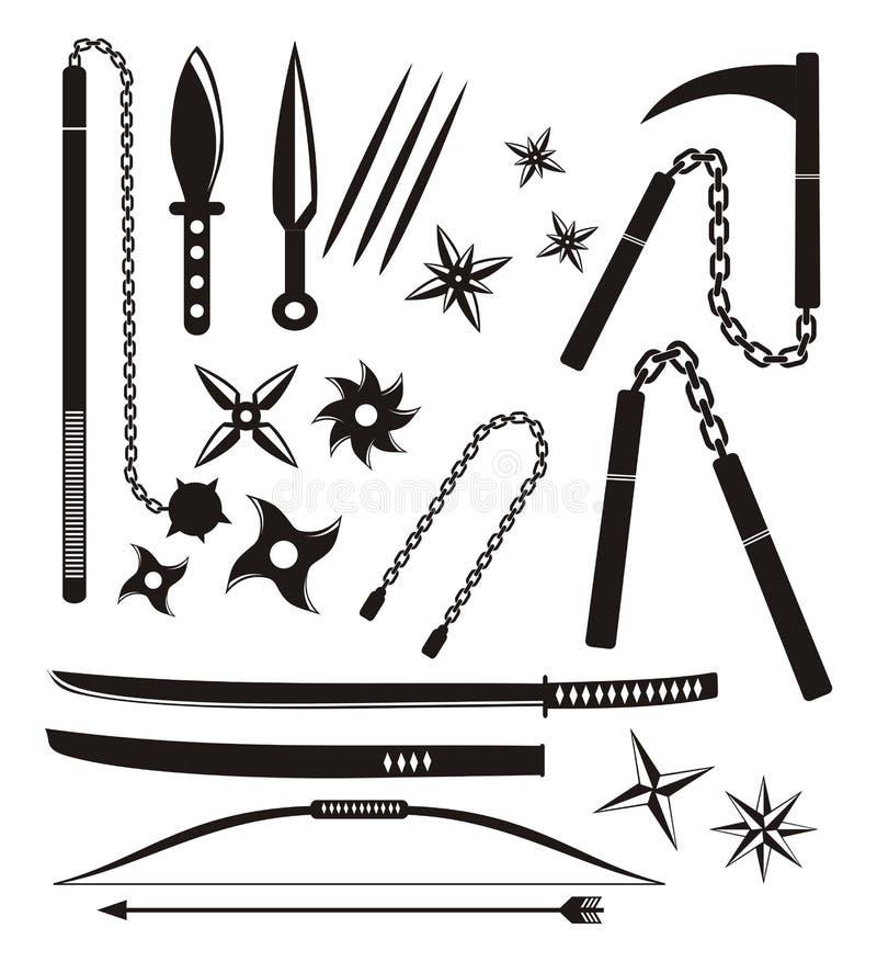 Ninja Weapon Sets Stock Image