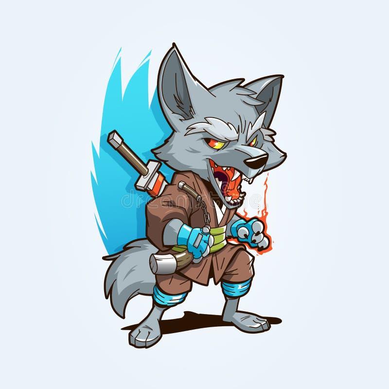 Ninja Wolf Mascot vektor illustrationer