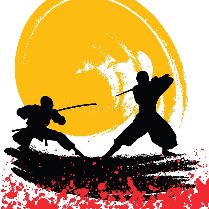Ninjas ilustração royalty free