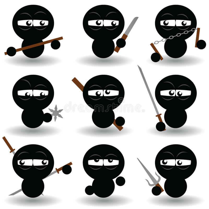 ninjas royaltyfri illustrationer