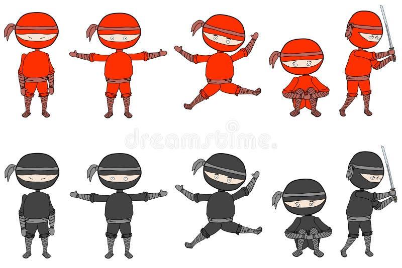 ninjas vektor illustrationer