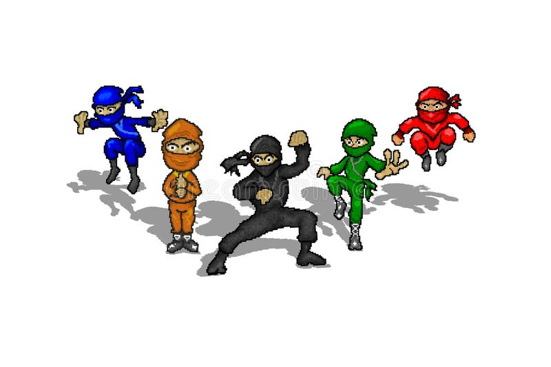 Ninjas Squad, Pixel Art Cartoons Character of Ninjas , Ninja Warrior , Ninja Illustration Pixelated , 3D Ninjas 8 Bit , Teamwork stock illustrationer