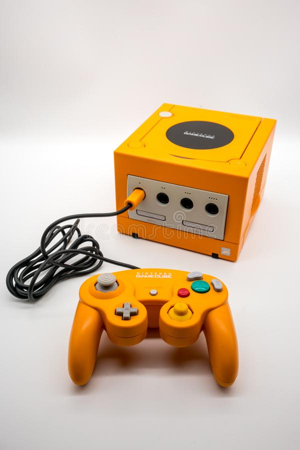 Nintendo Gamecube Console, Vintage portable game by Nintendo. royalty free stock photos
