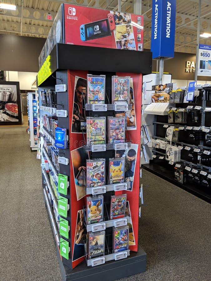 Nintendo schakelt Vertoning in in het gunstigste geval koopt stock afbeelding