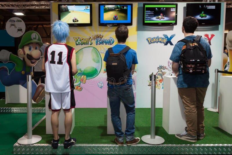 Nintendo ställning på Cartoomics 2014 i Milan, Italien arkivbild