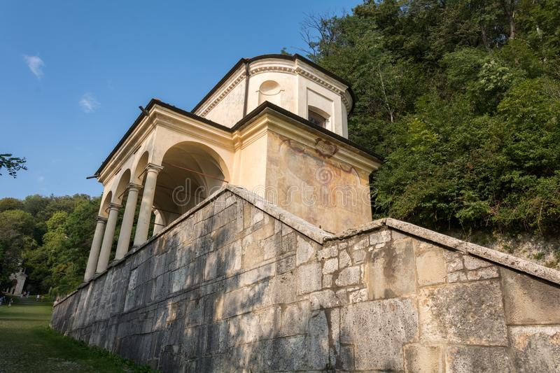 Ninth Chapel at Sacro Monte di Varese. Italy. The climb to calvary. Ninth Chapel to the Sanctuary of Santa Maria del Monte on the Sacro Monte di Varese stock photo