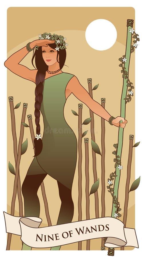 Nio av trollst?ver cards tarot Ung kvinna som bort ser och att rymma en trollstav omgiven av blommor och sidor; Åtta pinnar i bac stock illustrationer