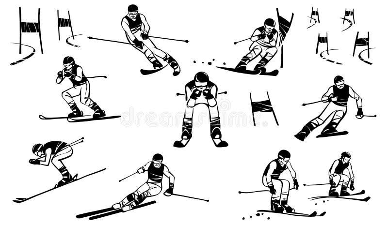 Nio bergidrottsmän konkurrerar i toppen-G jätte- slalom vektor illustrationer