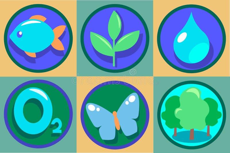 nio element av den rena naturen VektorEco illustrationer Ren droppe av vatten, syre, grön skog, växande växt royaltyfri illustrationer