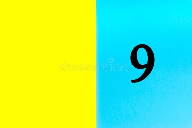 NIO eller 9 skriftliga ord på blå och gul bakgrund stock illustrationer