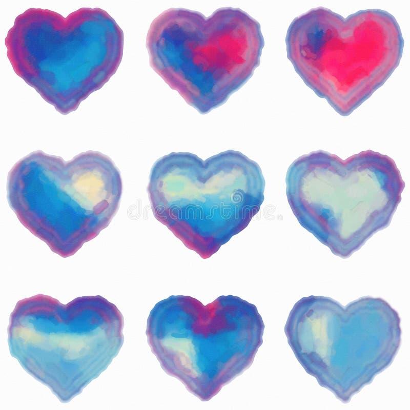 Nio färgrika hjärtor som simulerar vattenfärgen på papper vektor illustrationer
