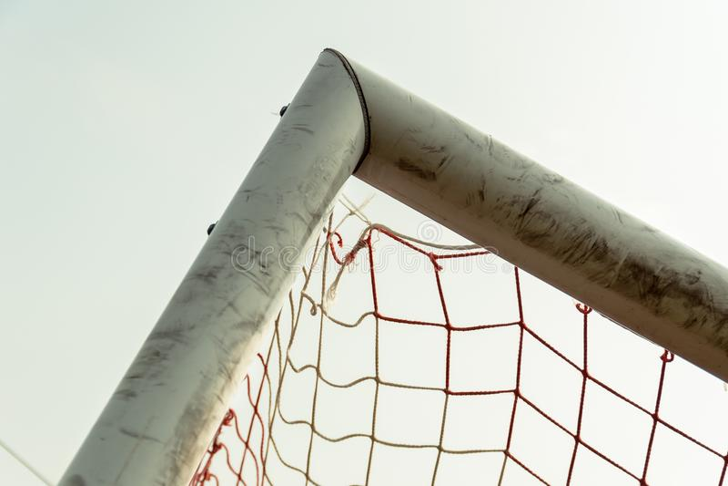 Nio fotbollmål arkivfoto