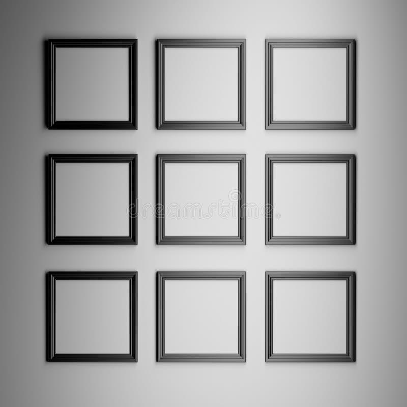 Nio fyrkantiga ramar stock illustrationer