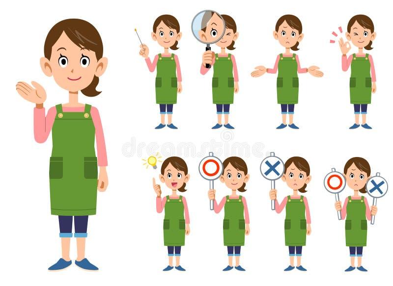 Nio gester och ansiktsuttryck av en kvinna vektor illustrationer