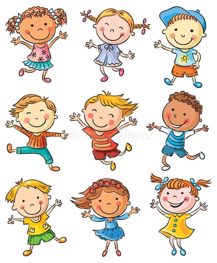 Nio lyckliga ungar som dansar eller hoppar stock illustrationer
