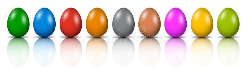 Nio påskägg, samling av kulöra ägg, påsksymbol - vektor illustrationer