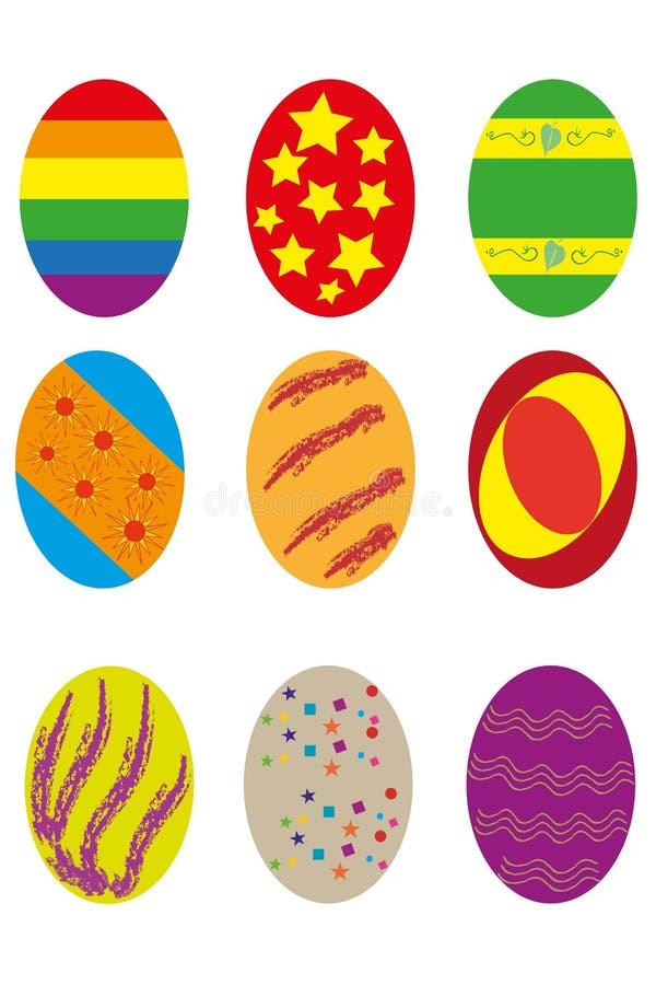 Nio easter ägg stock illustrationer