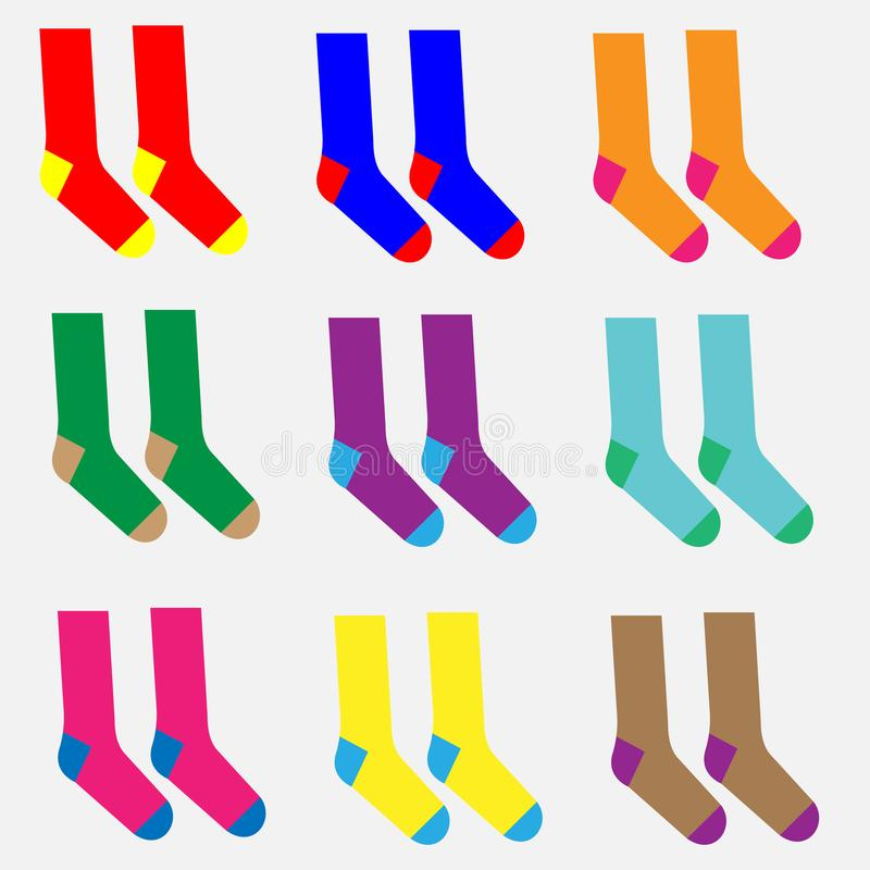 Nio par av olika färgrika sockor royaltyfri illustrationer