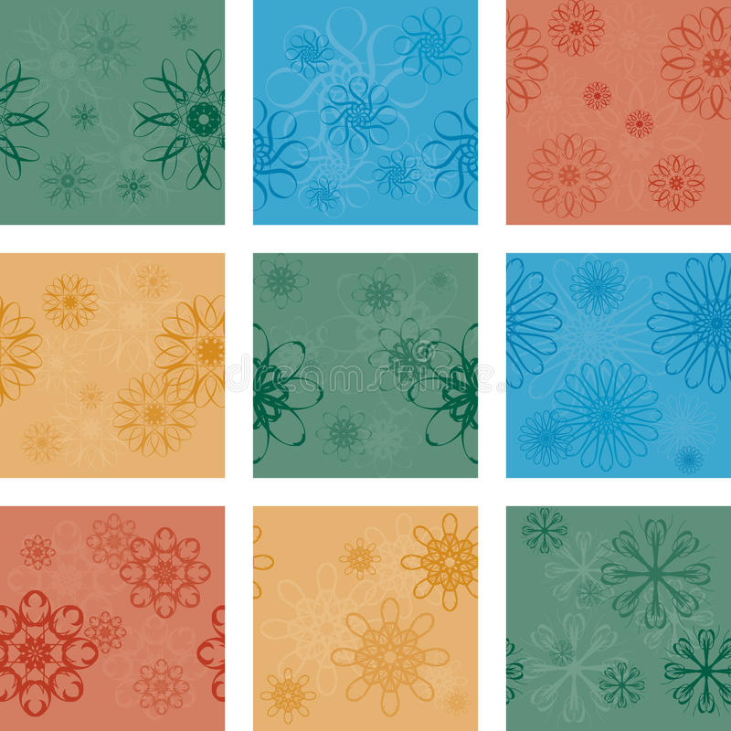 nio seamless modeller vektor illustrationer