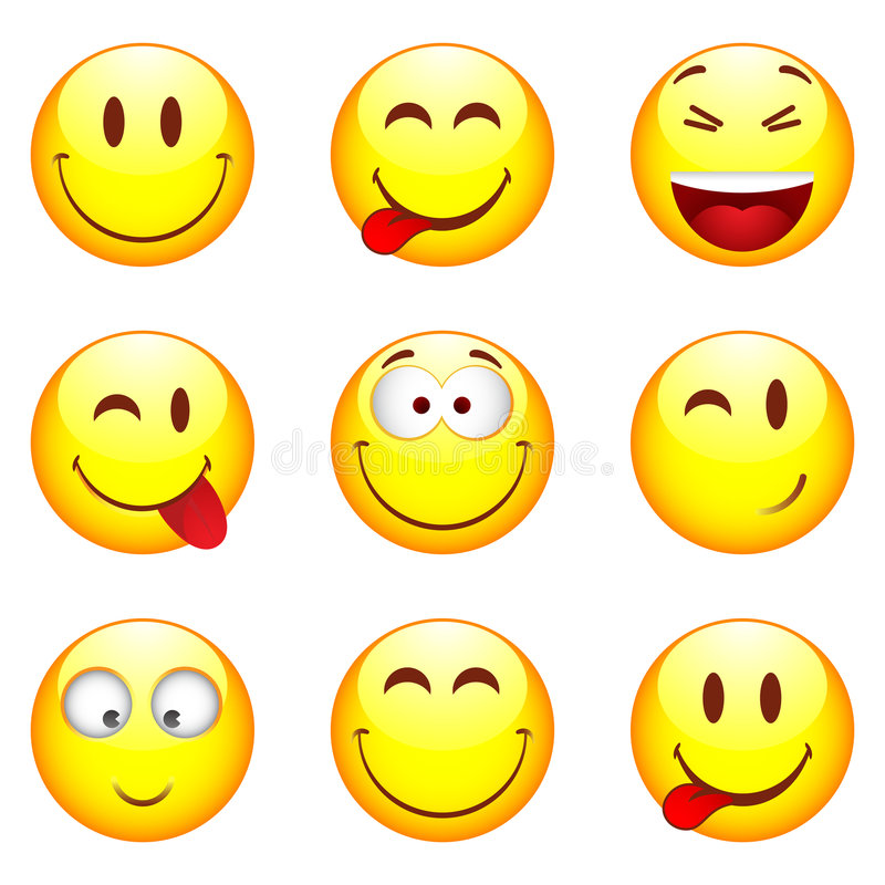 nio set smileys vektor illustrationer