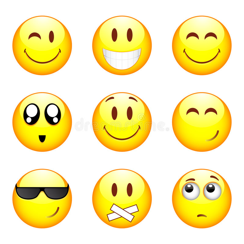 nio set smileys royaltyfri illustrationer