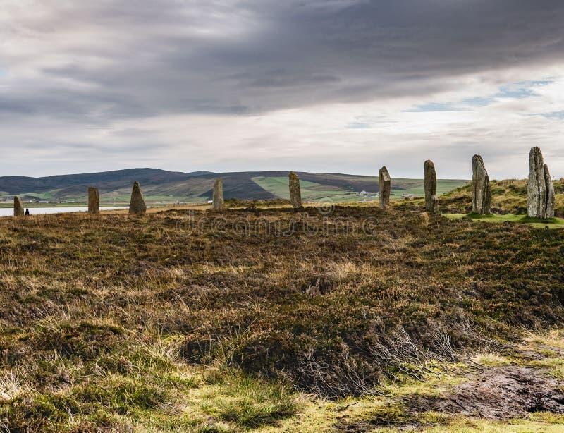 Nio stående stenar och hedland, fastland, Orkney, Skottland fotografering för bildbyråer