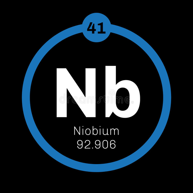 Niobium chemisch element royalty-vrije illustratie