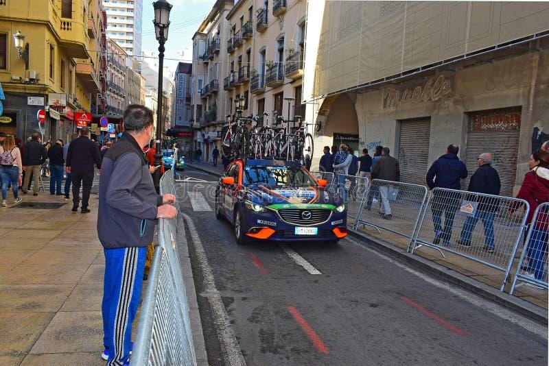 NIP Nippo Vini Fantini Faizané Team Car With Bikes On The Roof stock photography