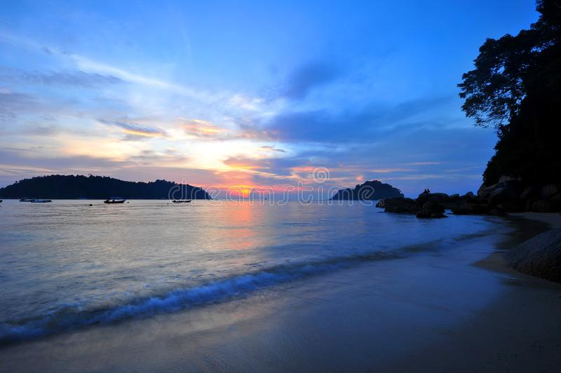 TELUK NIPAH - PULAU PANGKOR - PERAK. Nipah Beach or Teluk Nipah in Malay is one of the best beaches at Pangkor. It`s also home to many hotels and hostels on the royalty free stock photography