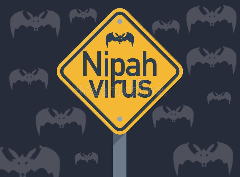 Nipah virus, an emerging disease thought to be spread by fruit bats stock illustration