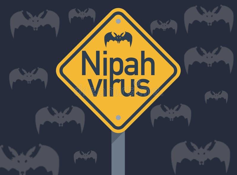 Nipahvirus, een nieuwe ziektegedachte dat door fruitknuppels moet worden uitgespreid stock illustratie
