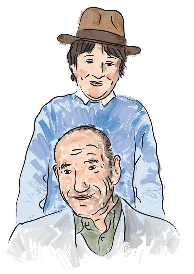 Nipote che gioca con il nonno illustrazione di stock